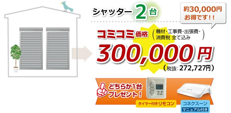 シャッター2台 コミコミ価格 300,000円リモコン付きで 34,400円お得!! (機材・工事費・出張費・消費税 全て込み)