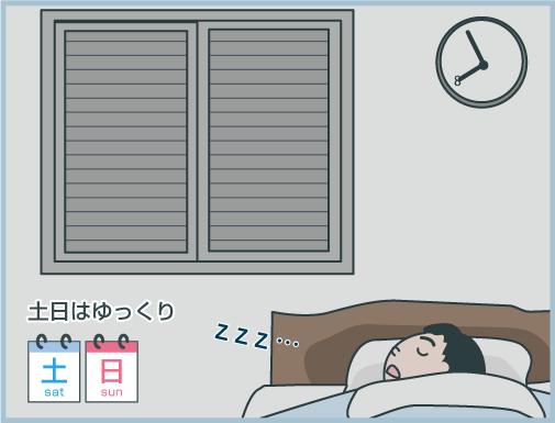 土日はゆっくり寝たいので遅めにシャッターを開けたい